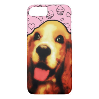Cute Springer Spaniel Dog with Heart Pattern iPhone 7 Case