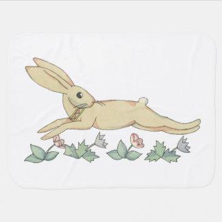 Cute Springing Rabbit by Tom Seidmann Freud Receiving Blanket