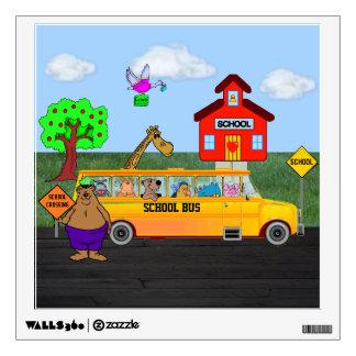 Cute Sq Decal w/School Bus w/Funny Animals Wall Decal
