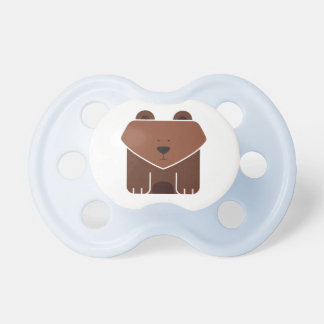 Cute Square Brown Bear on Your Background Color BooginHead Pacifier