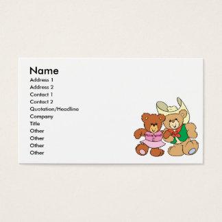 cute square dancing teddy bears design business card