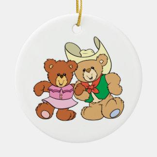 cute square dancing teddy bears design ceramic ornament