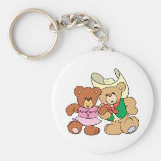 cute square dancing teddy bears design key chain