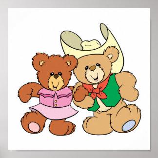 cute square dancing teddy bears design poster