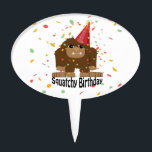"Cute Squatchy Birthday Bigfoot Cake Topper<br><div class=""desc"">Cute Squatchy birthday confetti party bigfoot and funny pun</div>"