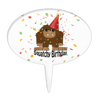 Cute Squatchy Birthday Bigfoot Cake Topper