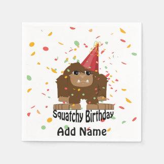 Cute Squatchy Birthday Bigfoot Napkin