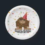 "Cute Squatchy Birthday Bigfoot Paper Plate<br><div class=""desc"">Cute Squatchy birthday confetti party bigfoot and funny pun</div>"