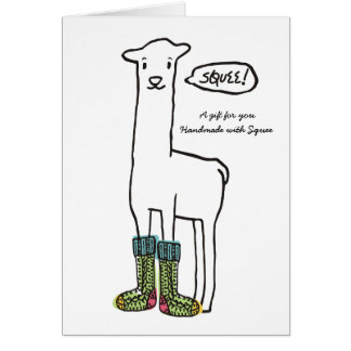 Cute squee llama Christmas knitting crochet socks Card