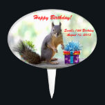 """Cute Squirrel and Birthday Presents Cake Topper<br><div class=""""desc"""">Birthday cake topper with a photo of a cute squirrel about to open his beautiful wrapped presents. &quot;Happy Birthday&quot; is written in red above the squirrel&#39;s head but you can personalize this greeting and the text with the birthday person&#39;s information, or delete the text completely. This unique and fun birthday...</div>"""