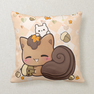 Cute squirrel and kawaii chestnut throw pillow