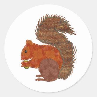 Cute Squirrel Applique Classic Round Sticker