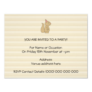 Cute Squirrel, Beige Stripe Background. Card