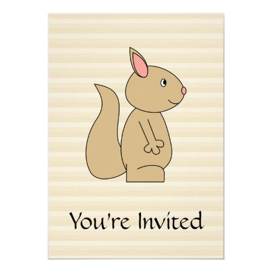 Cute Squirrel, Beige Stripe Background. Card