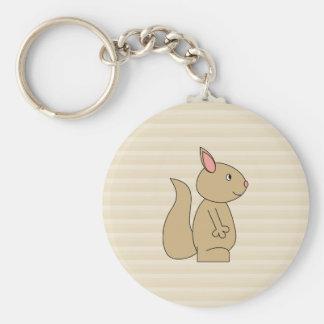 Cute Squirrel, Beige Stripe Background. Keychain