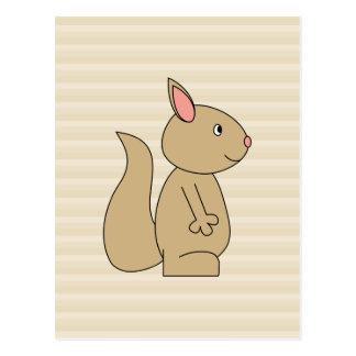 Cute Squirrel, Beige Stripe Background. Postcard