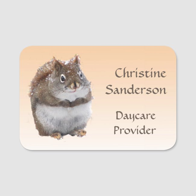 Cute Squirrel Daycare Provider Name Tag