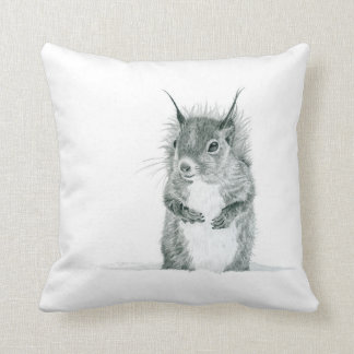 Cute Squirrel Drawing Pillow