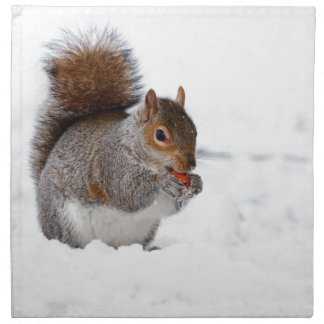 Cute squirrel eating a nut in snow cloth napkin