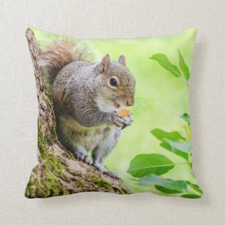 Cute Squirrel Eating in the Park Pillow Throw Pillow