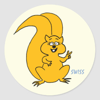 Cute Squirrel Flashing Peace Sign Round Sticker