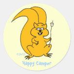 Cute Squirrel Happy Camper Envelope Seal Classic Round Sticker