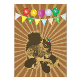 Cute Squirrel & Hazel Nuts Birthday Invitations