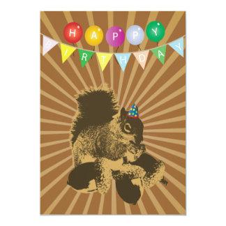 Cute Squirrel & Hazel Nuts Birthday Invitations