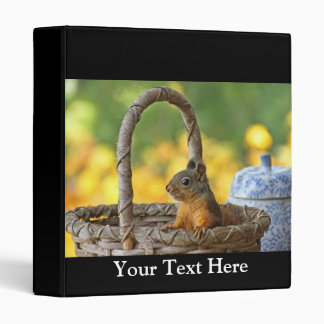 Cute Squirrel in a Basket 3 Ring Binder