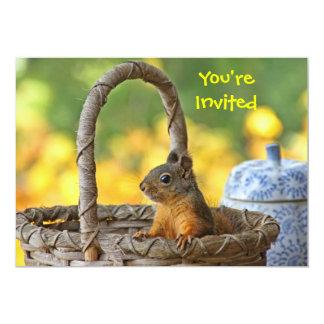 Cute Squirrel in a Basket 5x7 Paper Invitation Card