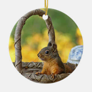 Cute Squirrel in a Basket Ceramic Ornament