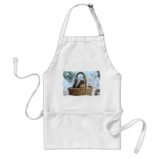 Cute Squirrel in a Basket in Winter Adult Apron