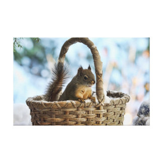 Cute Squirrel in a Basket in Winter Gallery Wrap Canvas