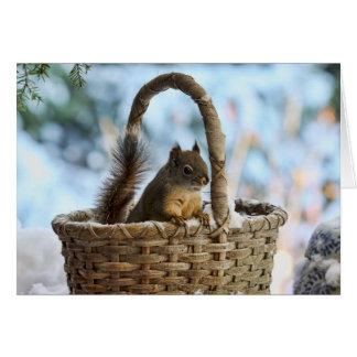 Cute Squirrel in a Basket in Winter Greeting Card