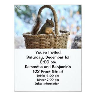 """Cute Squirrel in a Basket in Winter 4.25"""" X 5.5"""" Invitation Card"""