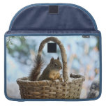 Cute Squirrel in a Basket in Winter Sleeves For MacBook Pro
