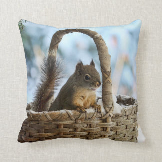 Cute Squirrel in a Basket in Winter Pillows