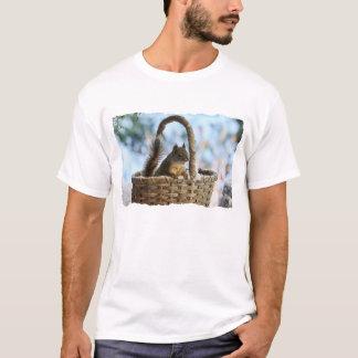 Cute Squirrel in a Basket in Winter T-Shirt