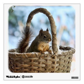 Cute Squirrel in a Basket in Winter Wall Decal
