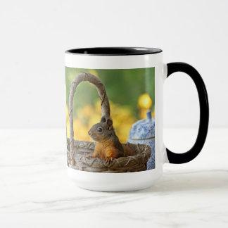 Cute Squirrel in a Basket Mug