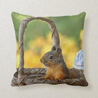 Cute Squirrel in a Basket Throw Pillow