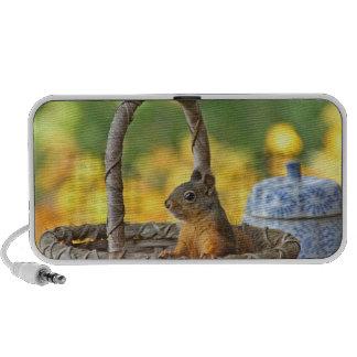 Cute Squirrel in a Basket Portable Speaker