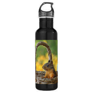 Cute Squirrel in a Basket Stainless Steel Water Bottle
