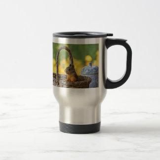 Cute Squirrel in a Basket Travel Mug