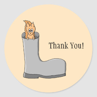 Cute Squirrel in a Boot. Thank You. Classic Round Sticker