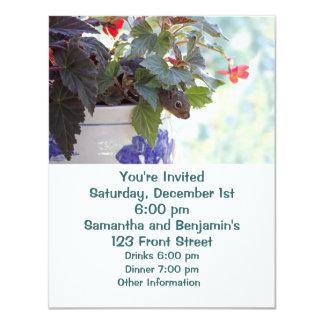 Cute Squirrel in a Flower Pot 4.25x5.5 Paper Invitation Card
