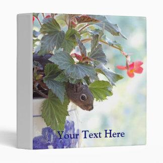 Cute Squirrel in a Flower Pot Vinyl Binder