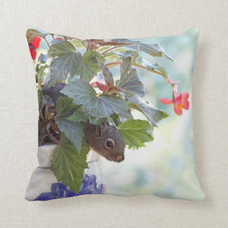 Cute Squirrel in a Flower Pot Throw Pillow