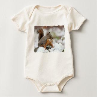 Cute Squirrel in Snow with Peanut Baby Bodysuit