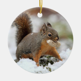 Cute Squirrel in Snow with Peanut Ceramic Ornament